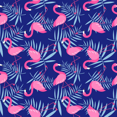 Seamless pattern with pink Flamingo birds Stock Illustratie