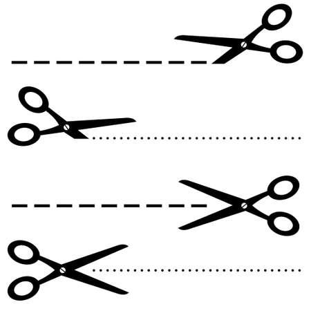 Illustrazione dell'icona delle forbici nere su sfondo bianco
