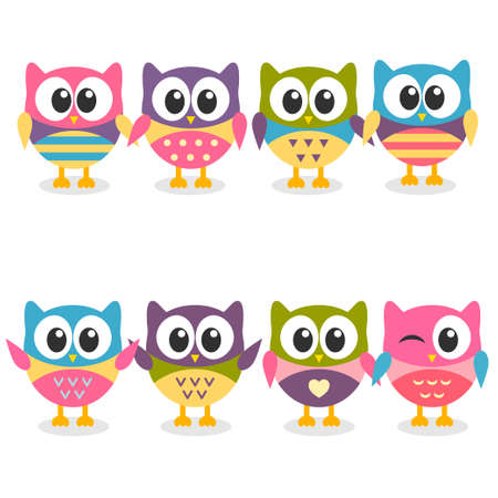 Cute colorful cartoon owls collection Stock Illustratie
