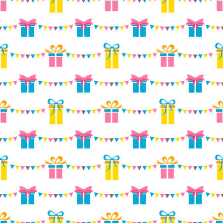 Seamless pattern with party presents and colorful flags Stock Illustratie