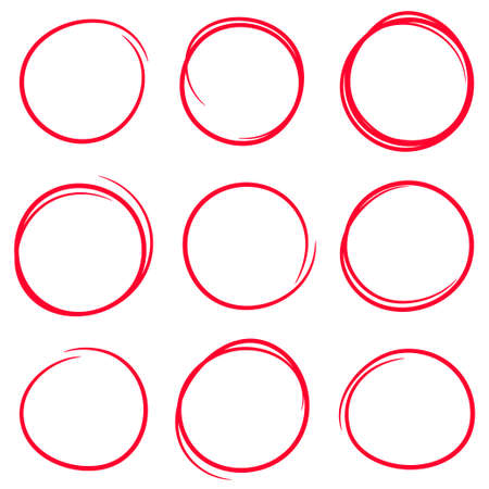 Set of red hand drawn scribble circles