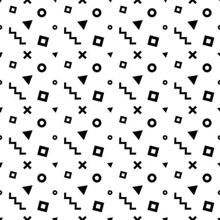Seamless memphis pattern with black geometric shapes Stock Illustratie