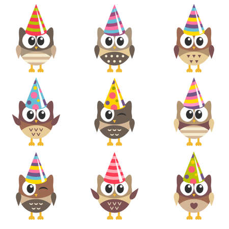 Set of funny owls with Birthday hats