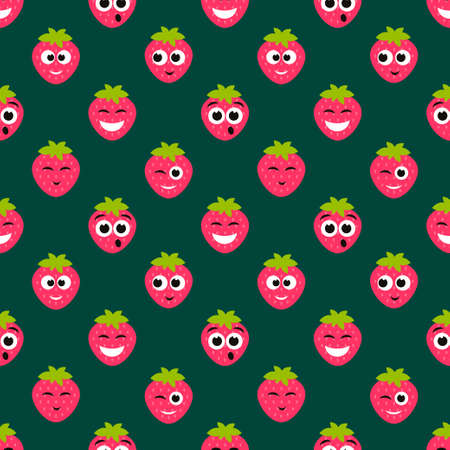 pattern with strawberry cute faces
