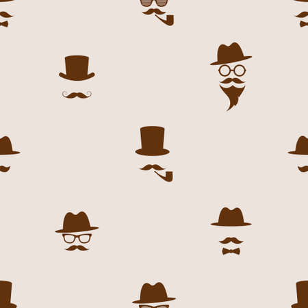 Seamless pattern with brown gentleman portrait icons Stock Illustratie