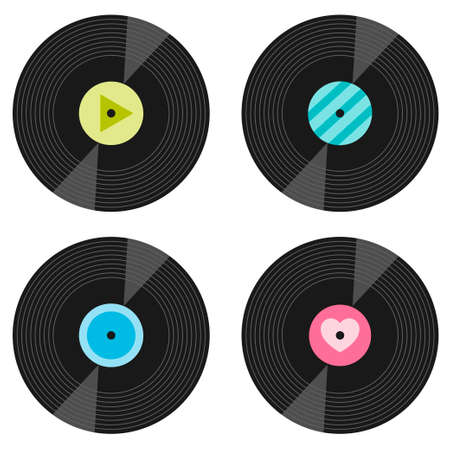 Set of vinyl record icons isolated on white