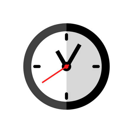 Clock icon design on white background, flat style