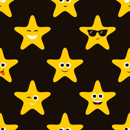 Cute stars with various emotions. Seamless pattern Stock Illustratie