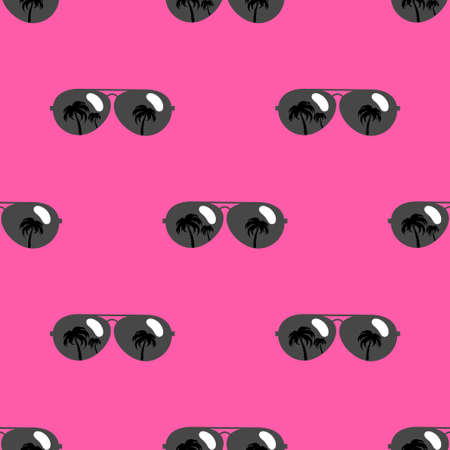 Seamless pattern with black sunglasses icons on pink background