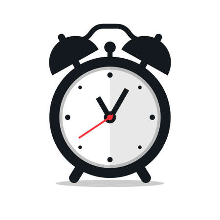 Black alarm clock icon on white background