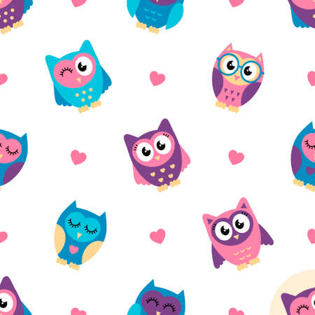 Seamless pattern with colorful owls and hearts Stock Illustratie