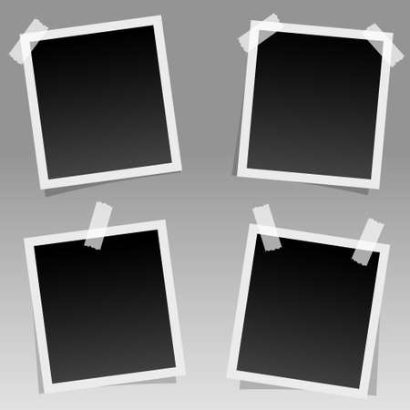 Set of realistic square photo frames with shadow pin on sticky tape