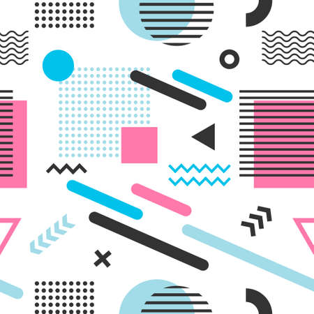 Memphis seamless pattern with blue, pink and black geometric shapes Stock Illustratie