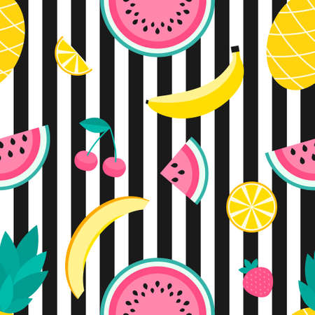 Seamless pattern with pineapple, lemon, melon, watermelon, strawberry, cherry and banana