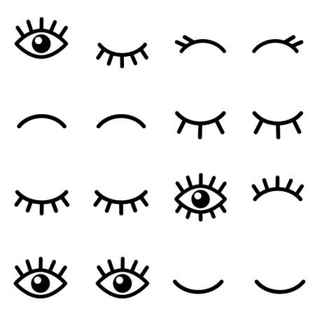 Set of cartoon eyes icons isolated on white
