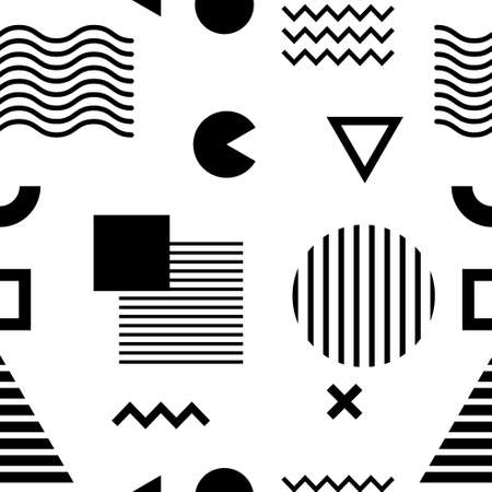 Seamless pattern with black geometric shapes on white background Stock Illustratie