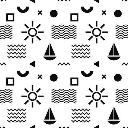 Abstract pattern with sun, boat and geometric shapes Stock Illustratie