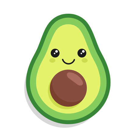 Illustration of kawaii cute avocado with a smile