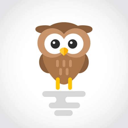 Icon of a cute cartoon owl in flat design