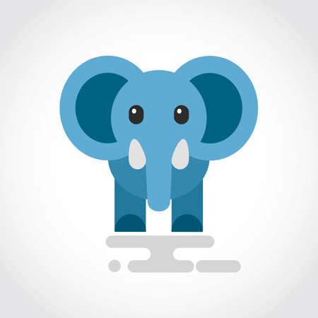 Icon of a cute cartoon blue elephant Stock Illustratie