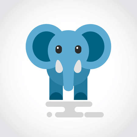Icon of a cute cartoon blue elephant Illustration