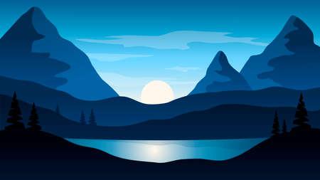 Beautiful dark blue mountain landscape with sun
