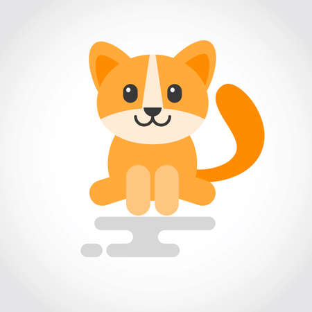 Icon of a cute cat in flat design 向量圖像