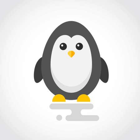 Icon of a cute penguin in flat design Stock Illustratie