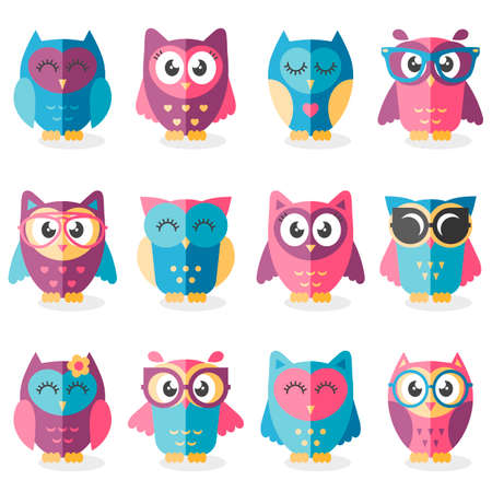 Cute cartoon owls isolated on white background