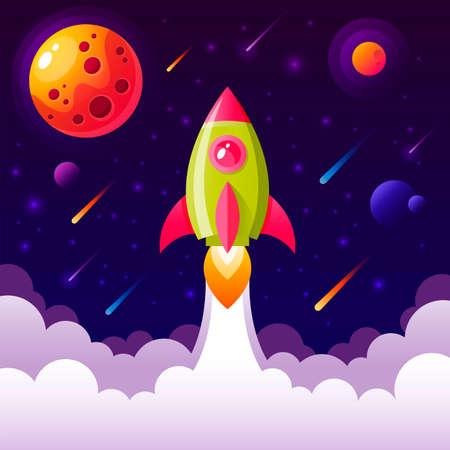 Background with space rocket flying in the sky Stock Illustratie