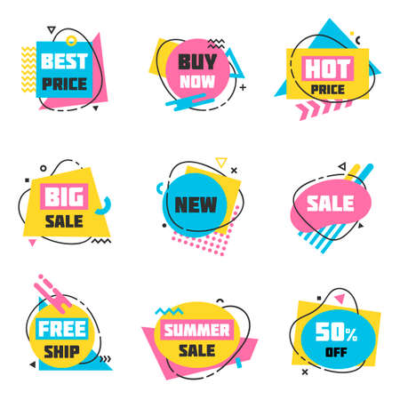 Flat linear promotion ribbon banners, price tags, stickers with abstract modern geometric elements