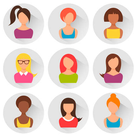 Group of colorful women avatars. Flat style design