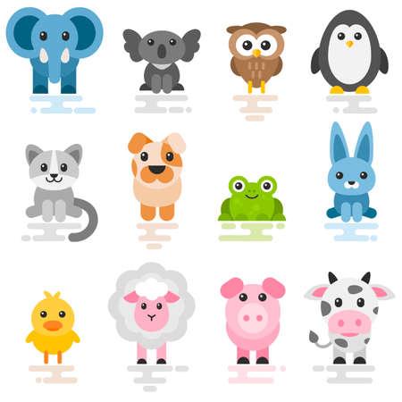 Ensemble d'animaux de dessin animé mignon. Icônes de style plat Vecteurs