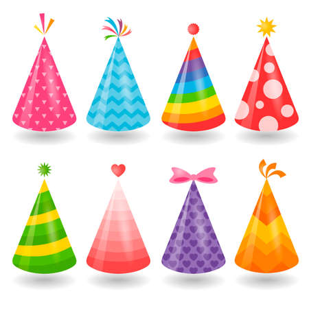 Set of colorful party hats isolated on white