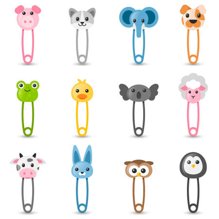 Safety pin collection with colorful animal heads Stock Illustratie