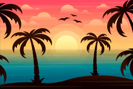 Beautiful landscape with ocean and palm trees