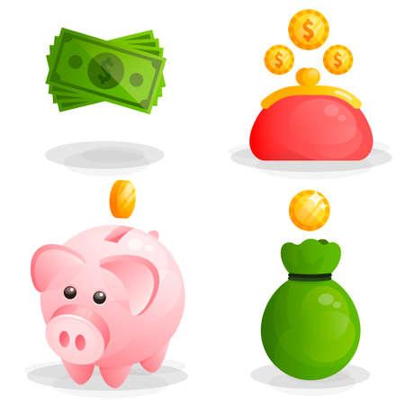 Money, coins, moneybox piggy and wallet