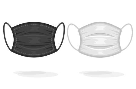 Medical or surgical face masks isolated on white Stock Illustratie