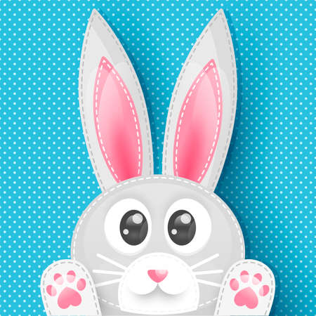 Blue background with dots and cute rabbit Stock Illustratie