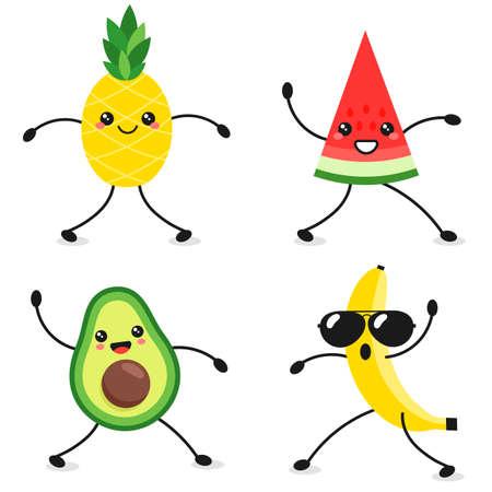 Cartoon characters of dancing avocado, watermelon, banana and pineapple