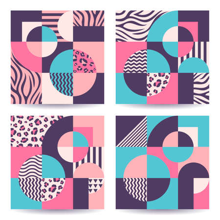 Set of abstract trendy colorful geometric backgrounds