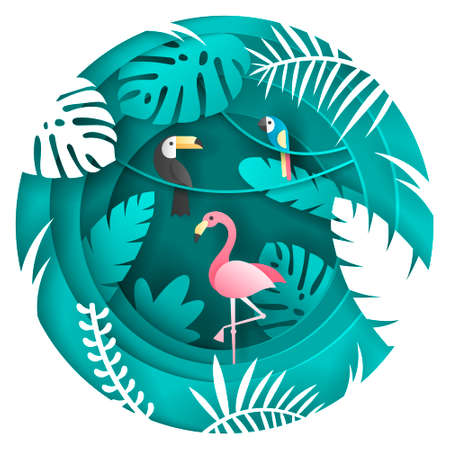 Toucan, Parrot and Flamigo Bird in the tropical forest. Paper art style