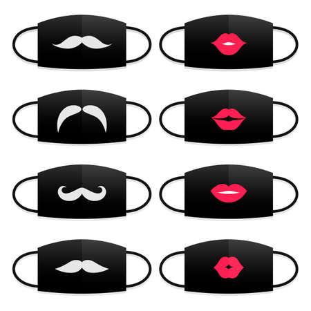 Set of medical masks with lips and mustache print. Modern person accessories Stock Illustratie