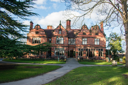 old english: Oakfield manor house at Chester Zoo, UK
