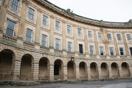 derbyshire: The arches and windows of Buxton Crescent, Buxton, Derbyshire Stock Photo
