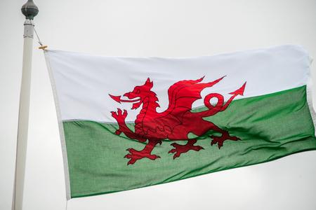 welsh flag: La bandiera del Galles contro un cielo nuvoloso Archivio Fotografico