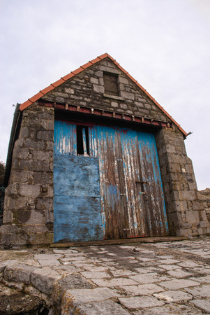 Old lifeboat station, Moelfre, Anglesey, which dates from 1875 and was replaced by a new boathouse and slipway in 1909. Stock Photo