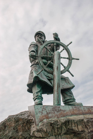 A close up of the statue of Dic Evans at Moelfre lifeboat station in Angelsey, Wales Stock Photo