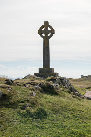 Celtic cross on Llanddwyn Island in Anglesey, North Wales Stock Photo