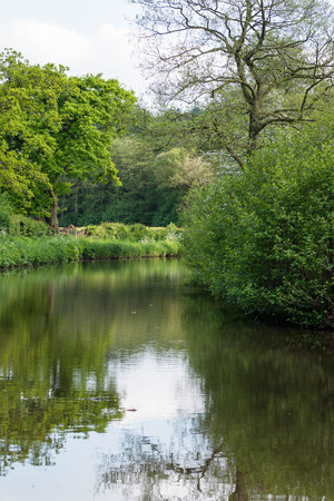 Caldon canal on a warm spring day, Staffordshire Stock Photo